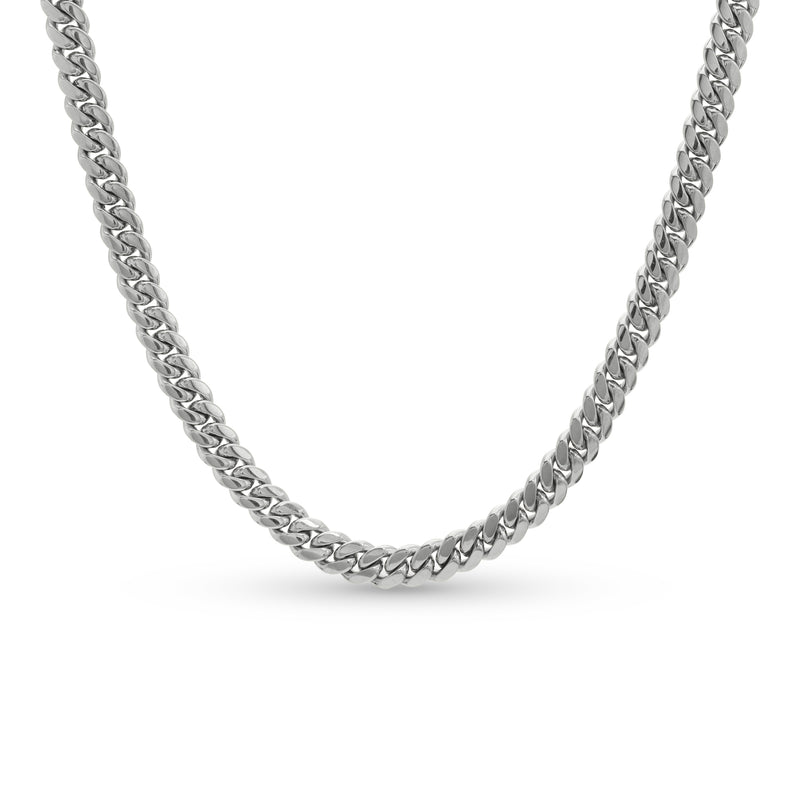 Cuban Link Chain 10K/14K White Gold 8mm