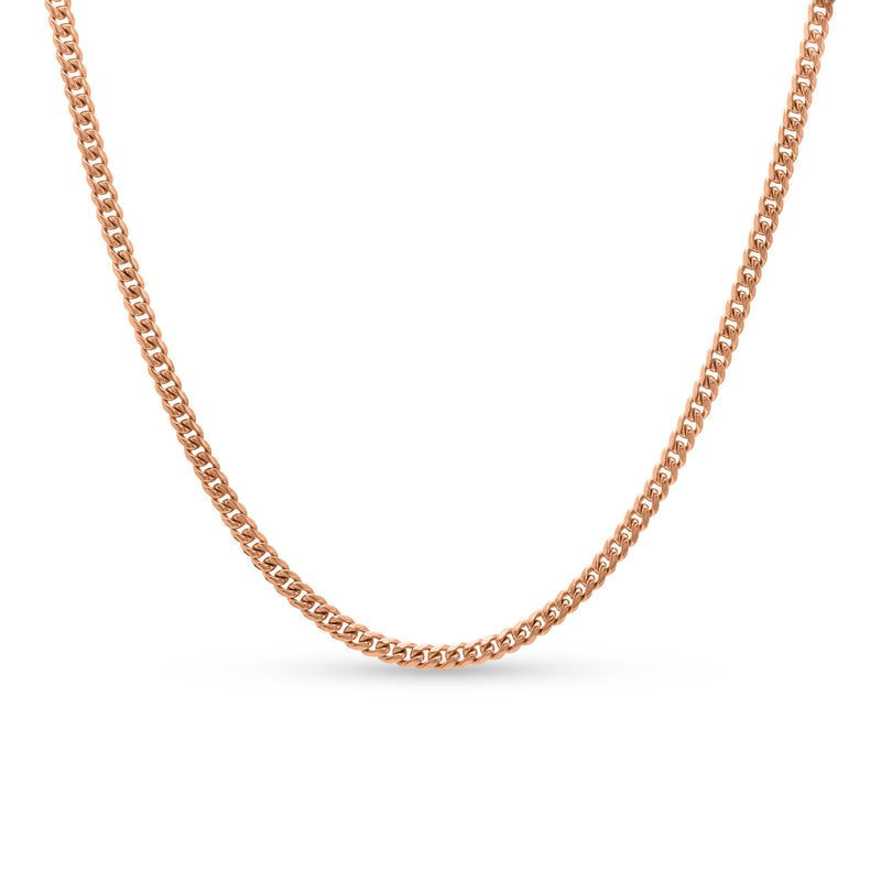 Cuban Link Chain 14K Rose Gold 4mm