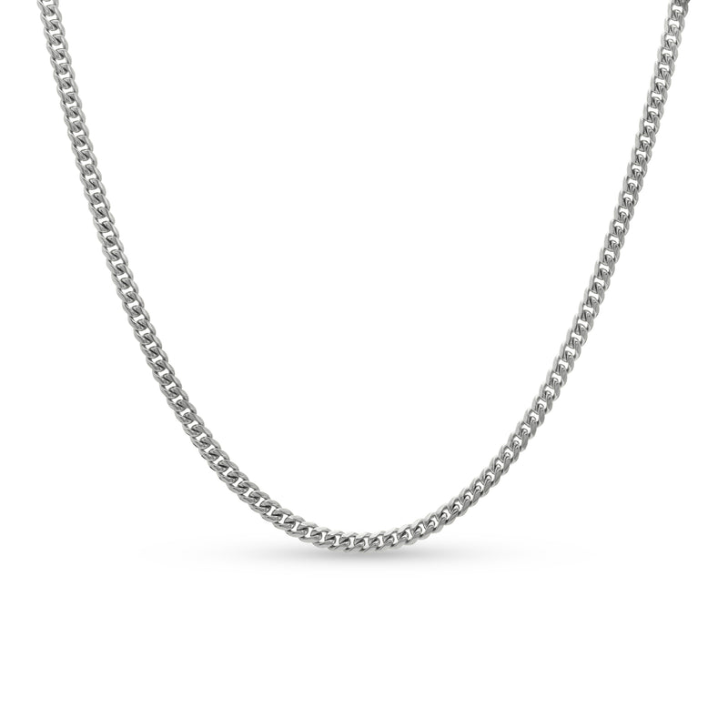 Cuban Link Chain 14K White Gold 4mm