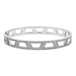 Flooded Signature Brick Bracelet 18K White Gold