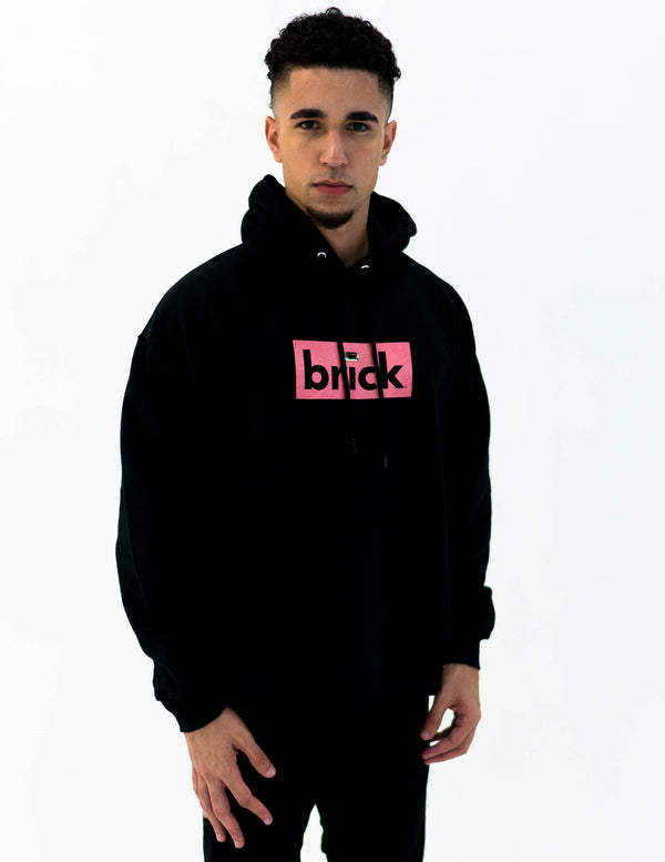 brick 14k gold bonded hoodie - black / rose gold