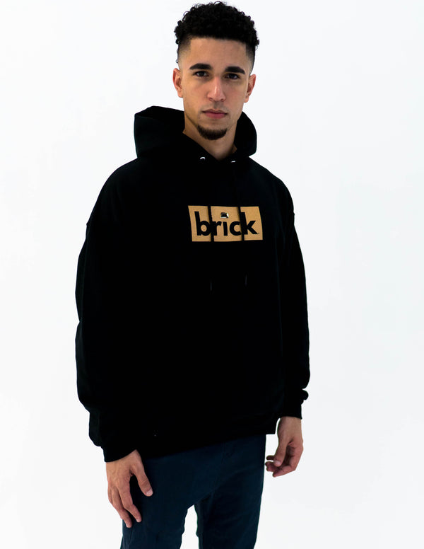 brick 14k gold bonded hoodie - black / yellow gold
