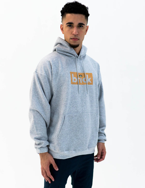 brick 14k gold bonded hoodie - grey / yellow gold
