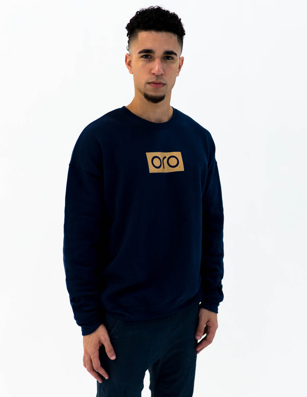 oro sweater - navy / yellow gold