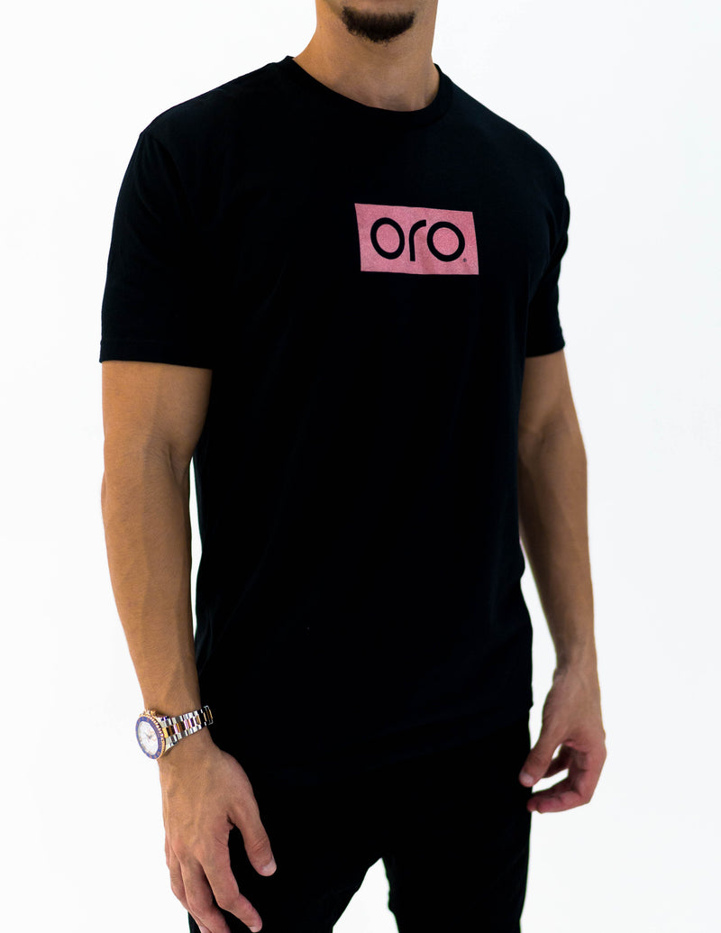 oro short sleeve t-shirt - black / rose gold
