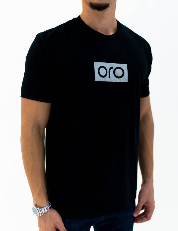oro short sleeve t-shirt - black / white gold