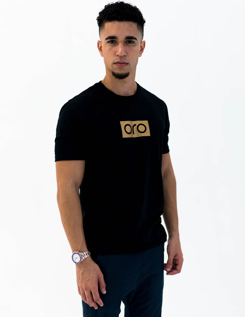 oro short sleeve t-shirt - black / yellow gold
