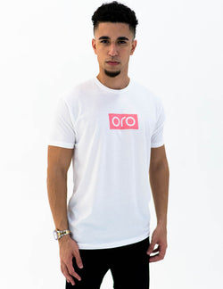 oro short sleeve t-shirt - white / rose gold