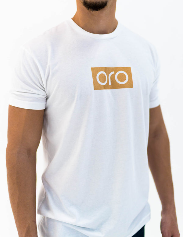 oro short sleeve t-shirt - white / yellow gold