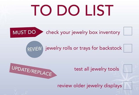 jeweler holiday to-do list for packaging and displays