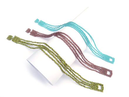 4 Strands Beaded Slim Delica Seed Bead Bracelet - Choose Color & Size - 48 Color Choices-Maddiethekat Designs