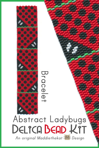 Abstract Ladybugs Bracelet Delica 2-Drop Peyote Bead Pattern or KIT DIY-Maddiethekat Designs