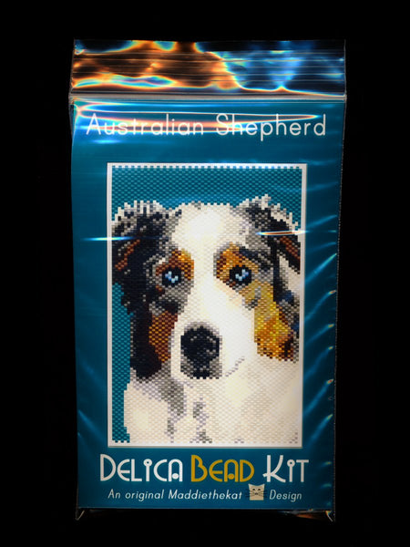 Australian Shepherd Dog Small Panel Peyote Bead Pattern PDF or KIT DIY-Maddiethekat Designs
