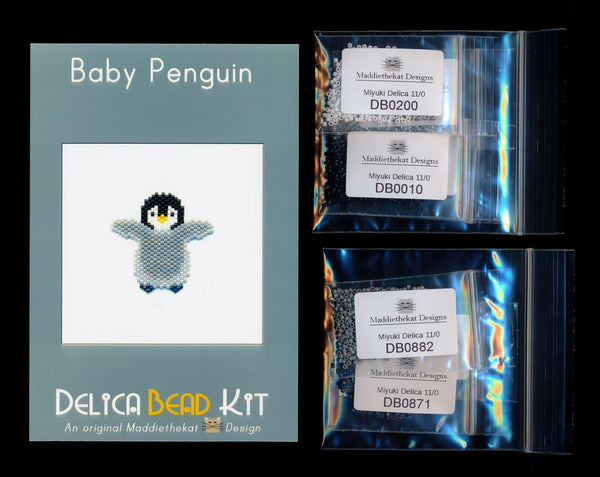 Baby Penguin Brick Stitch Seed Bead Pattern PDF or KIT DIY Bird Chick-Maddiethekat Designs