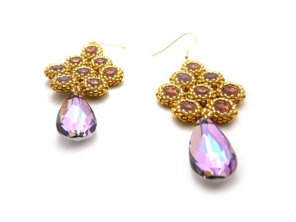 Bezels in Gold and Vitrail Cyclamen Opal Beaded Earrings Handmade-Maddiethekat Designs