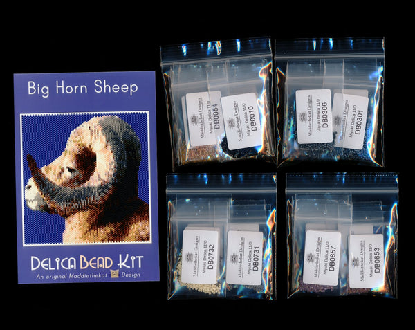 Big Horn Sheep Larger Panel Peyote Bead Pattern PDF or KIT DIY-Maddiethekat Designs
