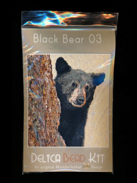 Black Bear 03 Larger Panel Peyote Bead Pattern PDF or KIT DIY-Maddiethekat Designs