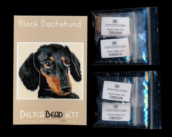 Black Dachshund Dog Larger Panel Peyote Seed Bead Pattern PDF or KIT DIY-Maddiethekat Designs