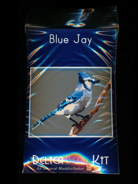 Blue Jay Larger Panel Peyote Seed Bead Pattern PDF or KIT DIY Bird-Maddiethekat Designs