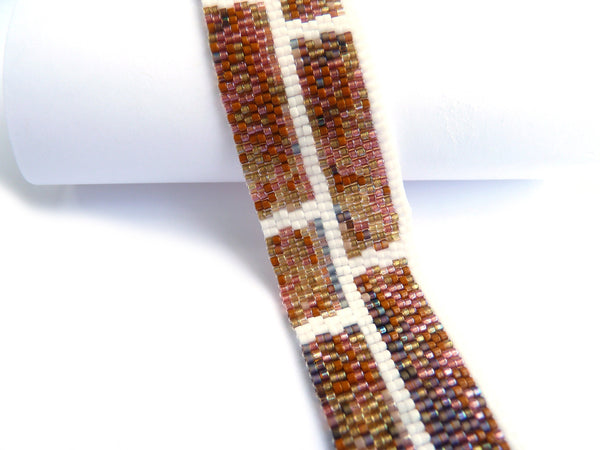 Brick Wall Slim 2-Drop Peyote Seed Beaded Bracelet-Maddiethekat Designs