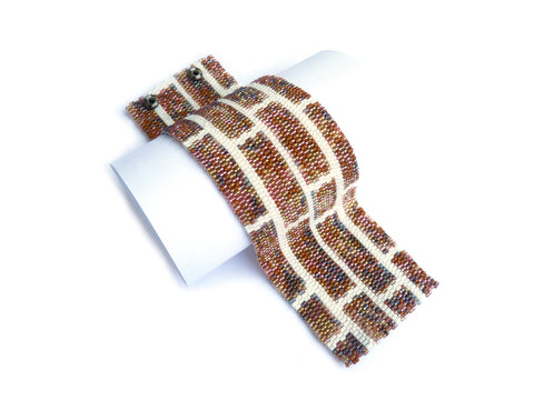Brick Wall Wide Cuff 2-Drop Peyote Seed Beaded Bracelet-Maddiethekat Designs