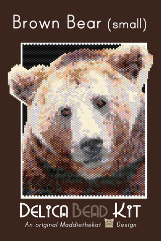 Brown Bear 01 Small Panel Peyote Seed Bead Pattern PDF or KIT DIY-Maddiethekat Designs