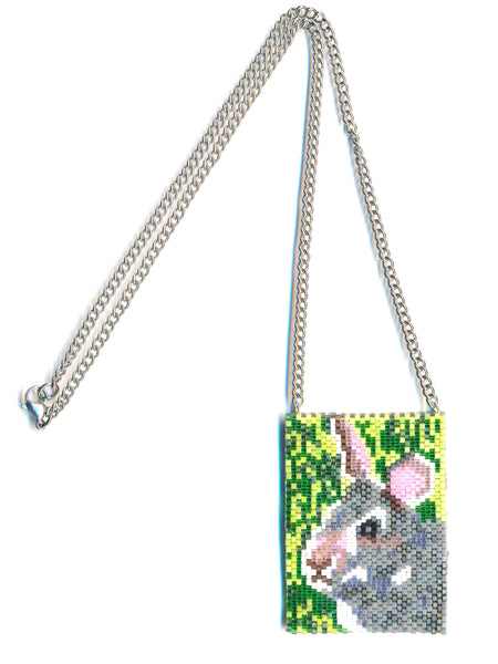Bunny Rabbit Peyote Beaded Necklace Mini Amulet Bag