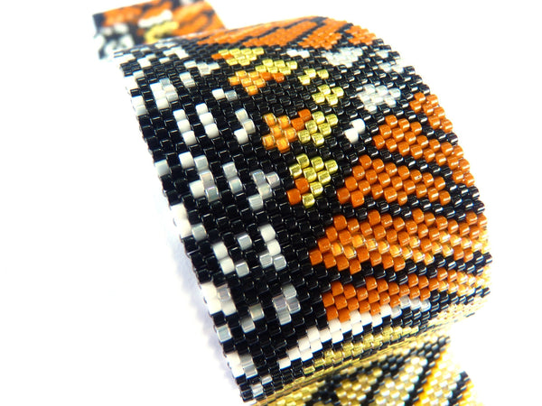Monarch Butterfly Design Peyote Seed Beaded Bracelet-Maddiethekat Designs