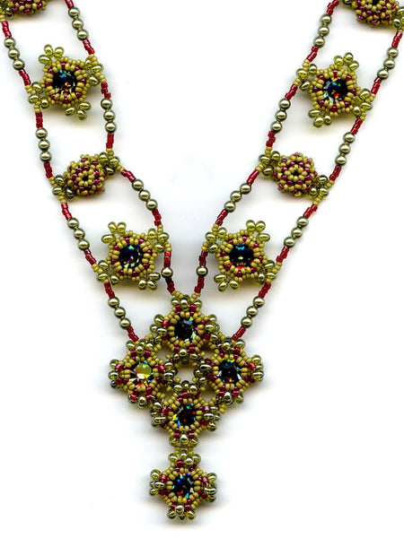 Byzantine Jewels Beaded Necklace Olive, Red, Vitrail Swarovski Crystal-Maddiethekat Designs