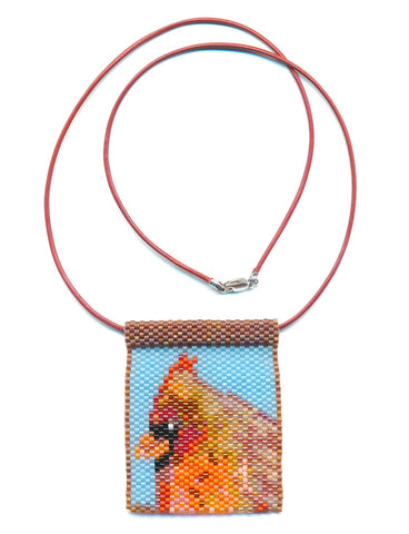 Cardinal Bird Peyote Beaded Necklace-Maddiethekat Designs