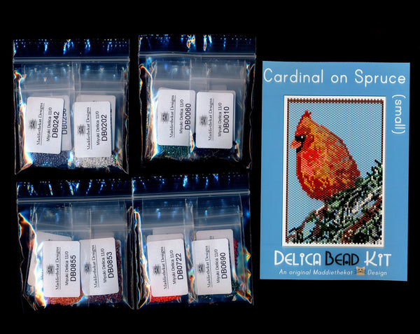 Cardinal on Spruce Tree Small Panel Peyote Seed Bead Pattern PDF or KIT DIY Bird-Maddiethekat Designs