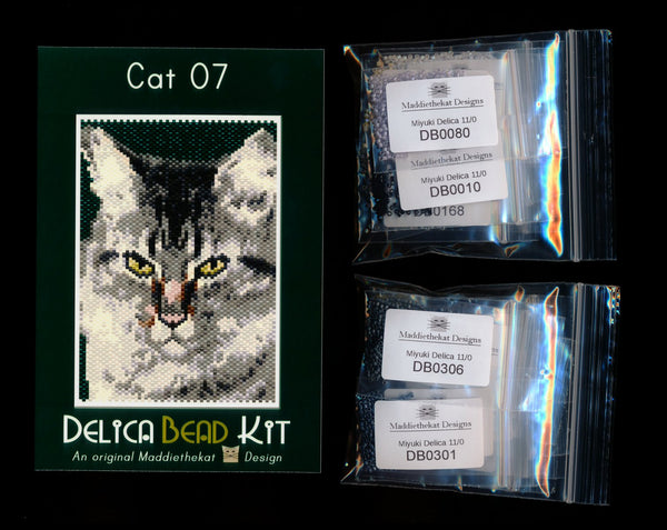 Cat 07 Small Panel Peyote Seed Bead Pattern PDF or KIT DIY-Maddiethekat Designs