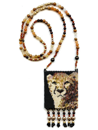 Cheetah Wild Cat Peyote Seed Beaded Necklace-Maddiethekat Designs