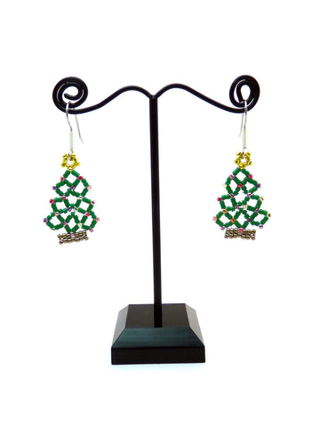 Christmas Tree Netted Beaded Earrings-Maddiethekat Designs