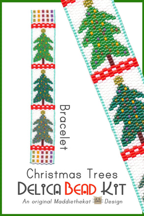 Christmas Trees Bracelet Delica 2-Drop Odd Count Peyote Bead Pattern or KIT DIY-Maddiethekat Designs