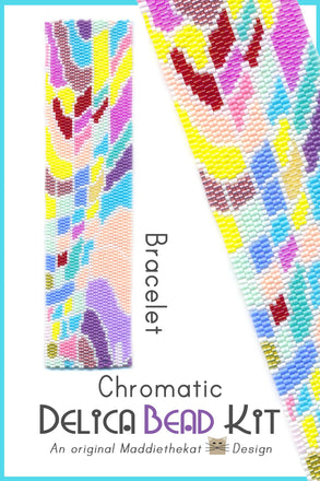Chromatic Wide Cuff Bracelet Delica 2-Drop Peyote Bead Pattern or KIT DIY-Maddiethekat Designs