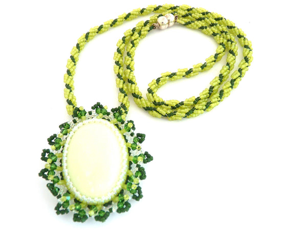 Chrysoprase Lemon & Green Cabochon Delica Beaded Necklace-Maddiethekat Designs