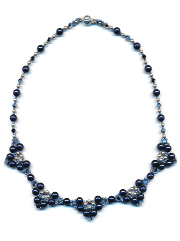 Clusters of Swarovski Pearls in Night Blue and Bronze Beaded Necklace-Maddiethekat Designs