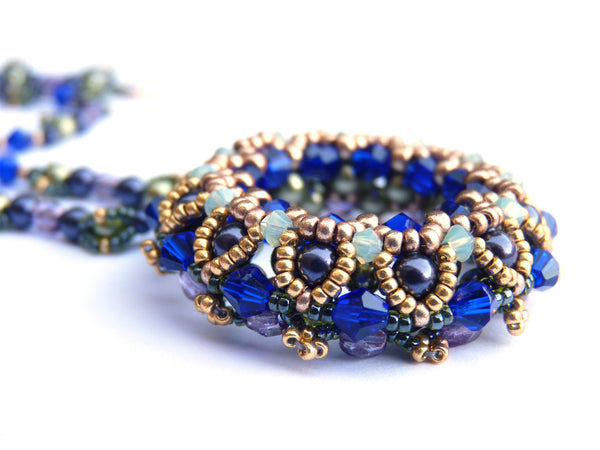 Coronation Day Necklace in Blues, Greens, Golds, Light Bronze and Purple Colors-Maddiethekat Designs