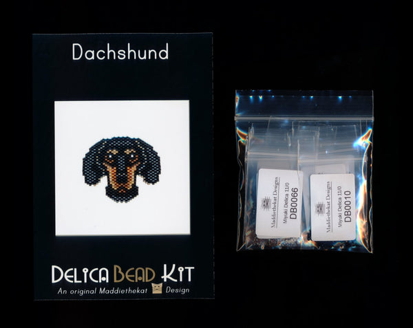 Dachshund Dog Brick Stitch Seed Bead Pattern PDF or KIT DIY-Maddiethekat Designs