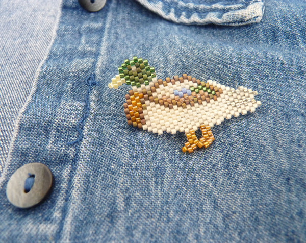 Drake Mallard Duck Delica Seed Beaded Pin Bird