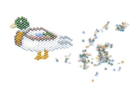 Drake Mallard Duck Delica Seed Beaded Pin Bird-Maddiethekat Designs