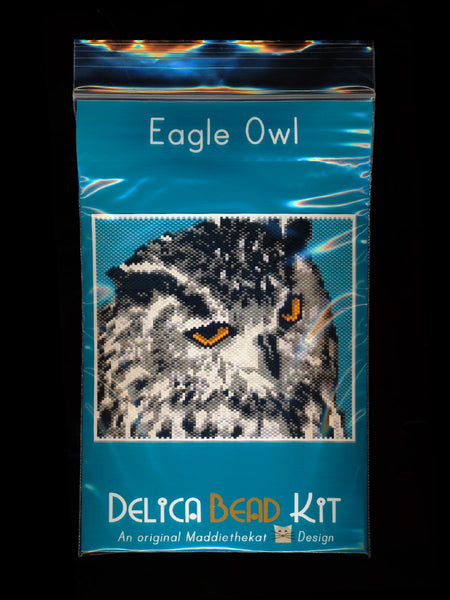 Eagle Owl Bird Larger Panel Peyote Seed Bead Pattern PDF or KIT DIY-Maddiethekat Designs