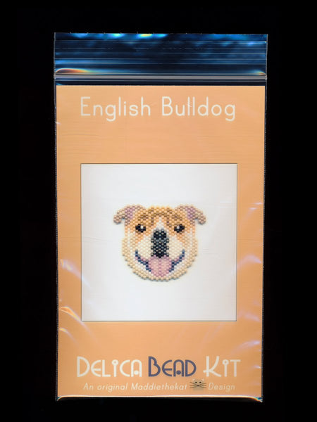 English Bulldog Brick Stitch Seed Bead Pattern PDF or KIT DIY-Maddiethekat Designs