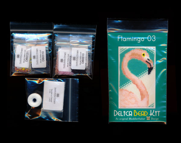 Flamingo 03 Small Panel Peyote Bead Pattern PDF or KIT DIY Bird