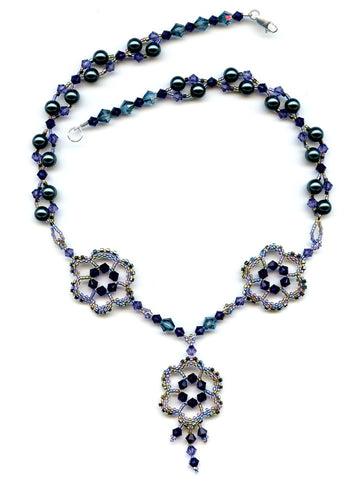 Flower Medallion Beaded Necklace Purple, Green, Tanzanite, Aquamarine, Tahitian-Maddiethekat Designs