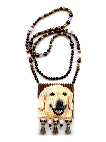 Golden Labrador Retriever Dog Peyote Seed Beaded Necklace-Maddiethekat Designs