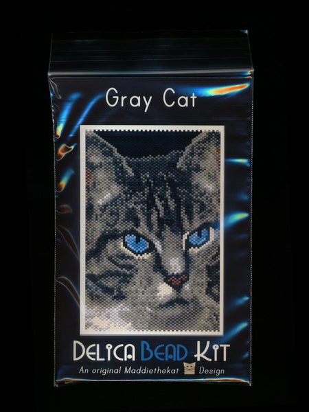 Gray Cat 01 Small Panel Peyote Seed Bead Pattern PDF or KIT DIY-Maddiethekat Designs