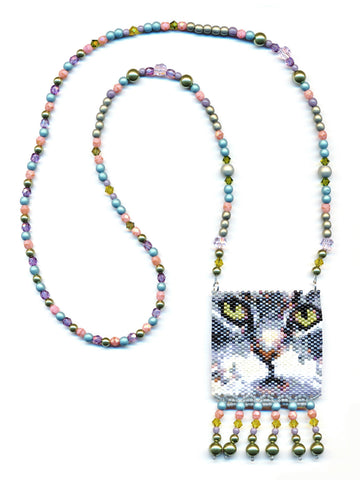 Gray Cat Peyote Seed Bead Necklace-Maddiethekat Designs