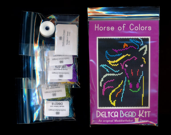 Horse of Colors Small Panel Seed Bead Pattern PDF or KIT DIY